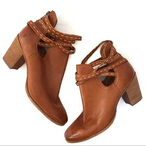 Frye Naomi Pickstitch Heeled Leather Ankle Booties